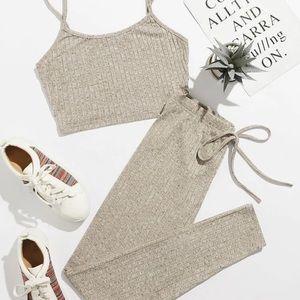 Rib knit crop cami top & knot waist leggings set
